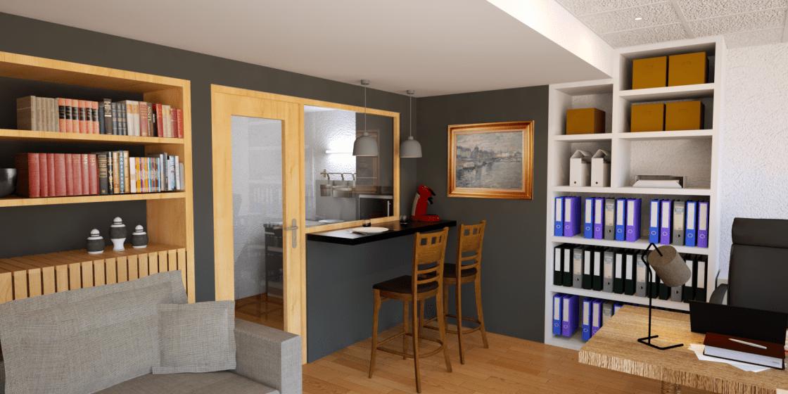 Aménagement d\'un bureau en chambre d\'ami - ABCD Archi